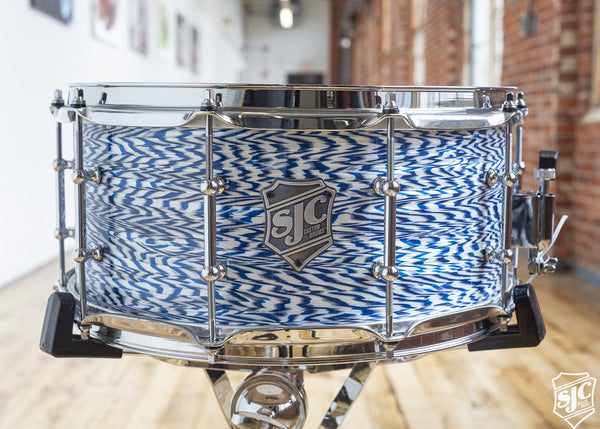 6.5x14 M5 Maple Snare - Blue + White Ripple