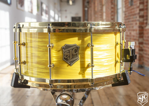 6.5x14 Steambent Maple Snare - Yellow Ripple with Brass Hardware