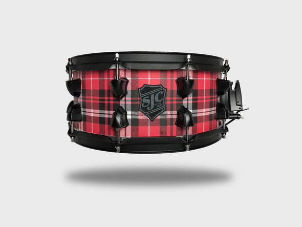 """Plaid"" Snare! - 6x14"" Red Plaid w/ Black Hardware"