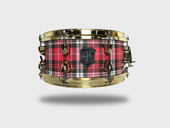 """Plaid"" Snare! - 6x13"" Red Plaid w/ Brass Hardware"