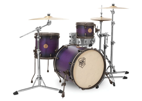 SJC Custom Drums USA Custom Drum Kit Builders Choice Maple Shells Purple Shadow Burst