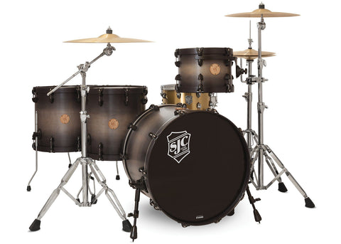 SJC Custom Drums USA Custom Drum Kit Builders Choice Maple Shells Charcoal Burst