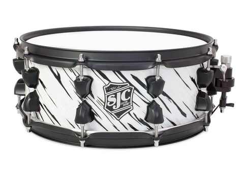 "SJC Custom Drums USA Custom Snare Drum Maple ""Cookies & Cream"" Oyster Wrap"