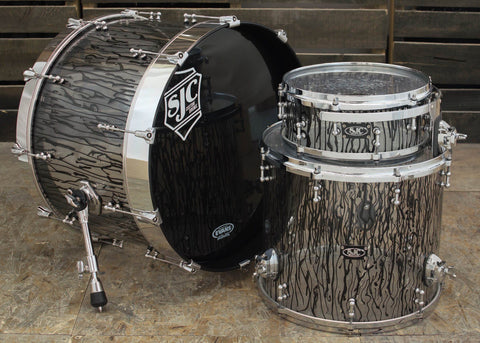 SJC Custom Drums USA Custom Drum Kit Custom Black Paint Drip Design on Clear Acrylic Shells