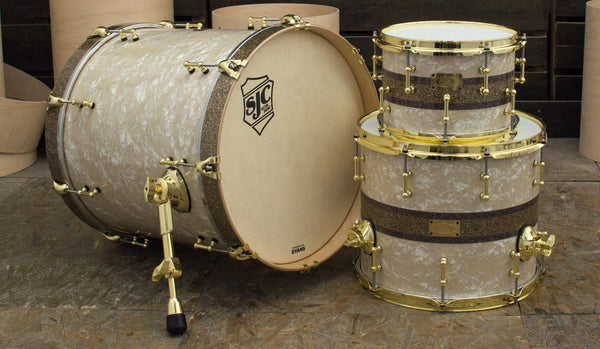 SJC Custom Drums USA Custom Drum Kit Maple Aged White Pearl wrap custom multi-stripe glitter