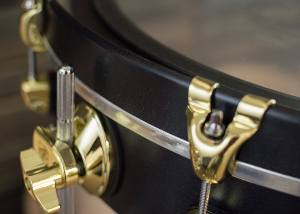 SJC Custom Drums UFO Brass Hardware Maple Black Satin Stain