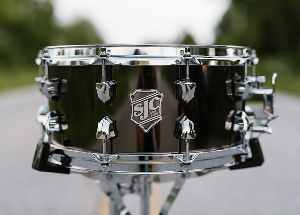 SJC Custom Drums USA Custom Snare Drum Steel Polished Black Nickel