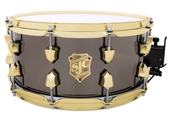 SJC Custom Drums USA Custom Snare Drum Brass Shell Polished Black Nickel