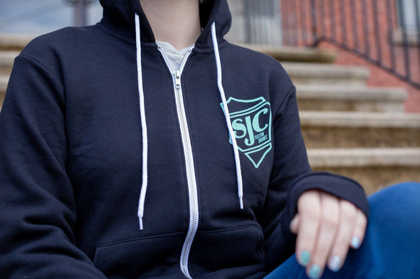 SJC Zip Up Hoodie - Black/Seafoam (3XL)