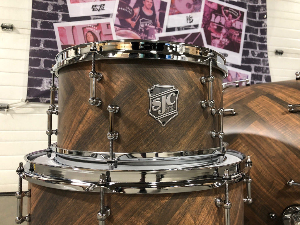 "3pc Mahogany Shell Pack 13"", 16"", 24"" - Chevron Pattern Finish"