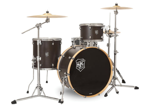 SJC Custom Drums USA Custom Drum Kit Navigator North American Maple Shells Midnight Espresso Super Satin Stain