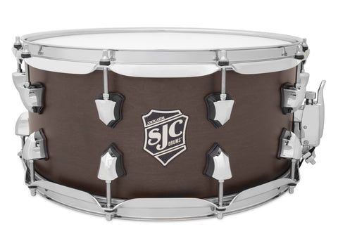 SJC Custom Drums USA Custom Snare Drum North American Maple Midnight Espresso Super Satin Stain
