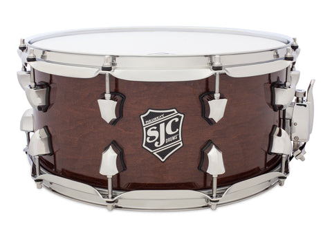 SJC Custom Drums USA Custom Snare Drum North American Maple Walnut Transparent Hi-Gloss Lacquer