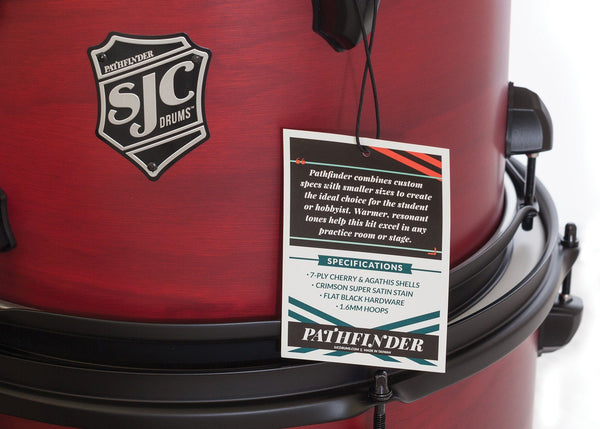 SJC Custom Drums USA Custom Drum Kit Pathfinder Agathis Cherry Shells Crimson Super Satin Stain
