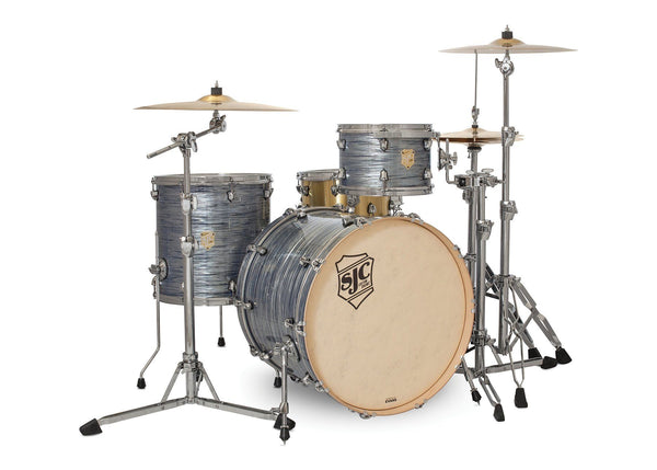 SJC Custom Drums USA Custom Drum Kit Providence Maple Silver Ripple Wrap