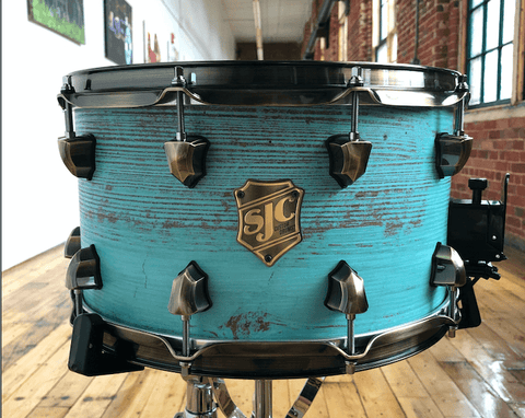 Custom 8x14 blue heavy distressed snare!