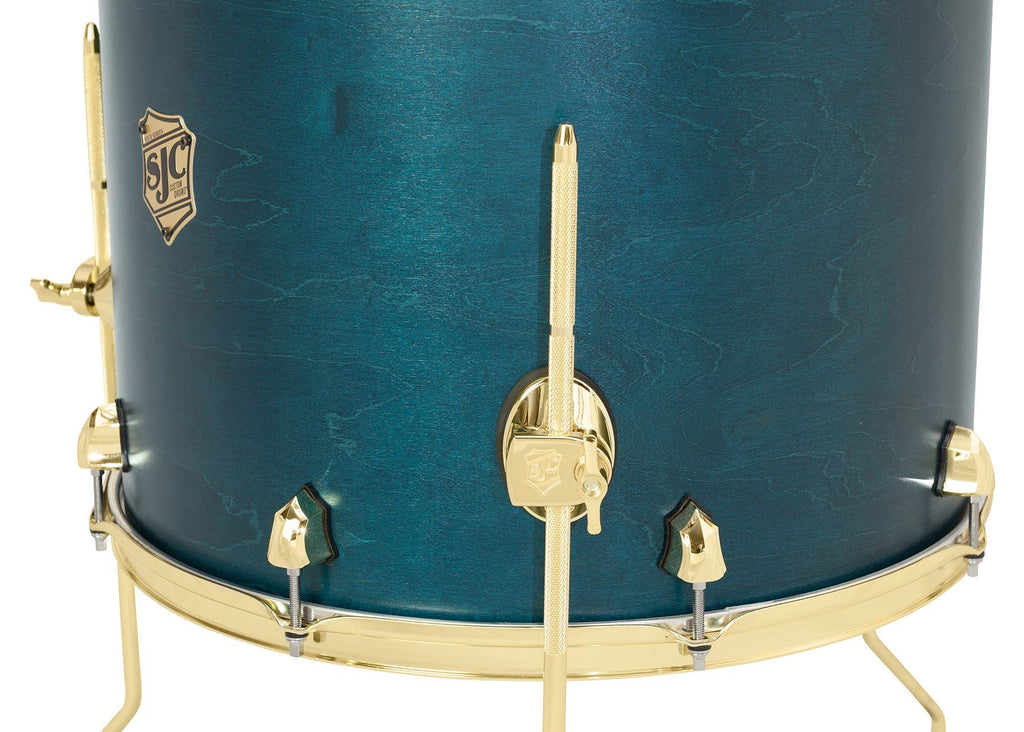 SJC Custom Drums USA Custom Drum Floor Tom Tour Series Maple Blue Satin Stain