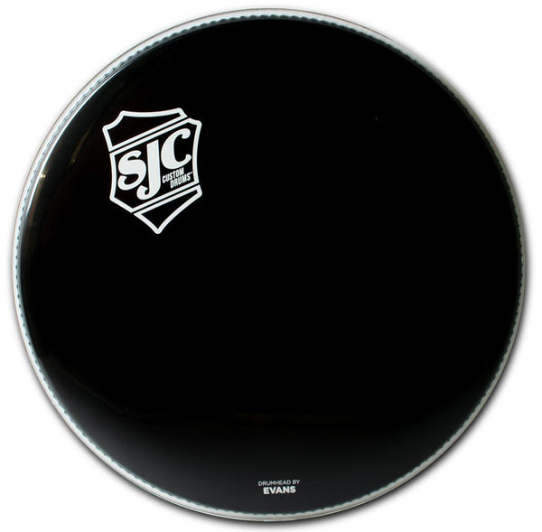 SJC Shield Logo Bass Drum Heads Black