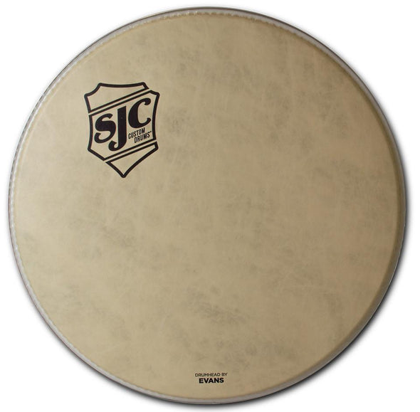 SJC Shield Logo Bass Drum Heads Calftone