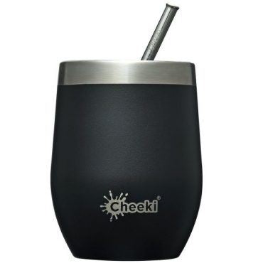 Cheeki | Insulated Wine Tumbler With Straw Rich Black | 1 X 320ml. Sold By Superfood Market