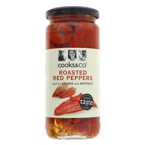 Cooks & Co | Roasted Red Peppers | 1 X 460g. This Product Is :- Vegan