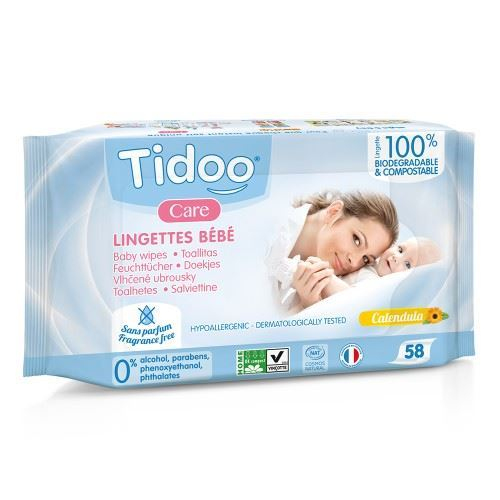 Tidu | Tidoo Compostable Wipes - Perfume Free | 1 x 58s