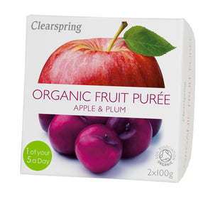 Clearspring | Apple & Plum Puree - Organic | 1 x 2x100g | Clearspring