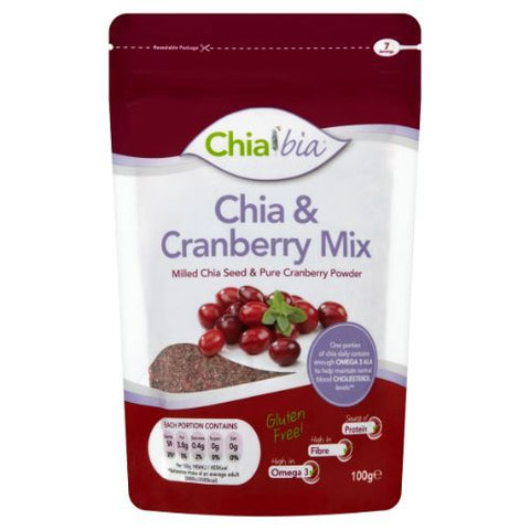 Chia Bia | Milled Chia Seed & Cranberry Mix | 1 x 100g