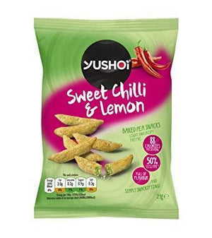 Yushoi | Sweet Chilli & Lemon Baked Pea Snack | 24 X 21g. This Product Is :- Vegan,dairy Free