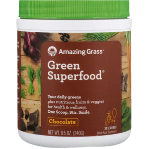 Glanbia Performance Nutrition | Amazing Grass  Green Superfood - Chocolate | 1 x 240g | Glanbia Performance Nutrition