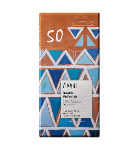 Vivani | Organic Dark Milk 50% Panama Coconut Blossom Sugar | 1 X 80g. Sold By Superfood Market