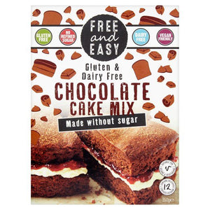 Free & Easy | Gluten & Dairy Free Chocolate Cake Mix - Sugar Free | 1 x 350g | Free & Easy