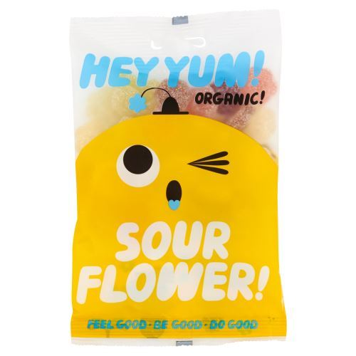 Hey Yum | Sour Flower Organic Sour Fruit Gummy Candy | 1 x 100g