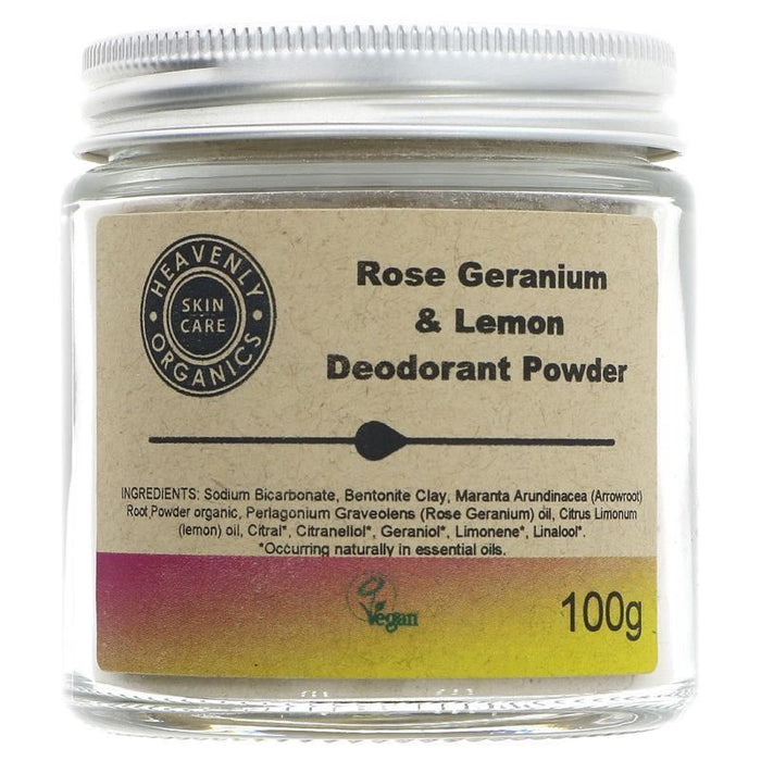 Heavenly Organics Skin Care | Deodorant Powder-rose & Lemon | 1 x 100g