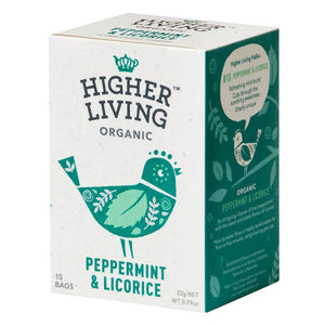 Higher Living | Organic Peppermint & Licorice | 1 x 15 Bags