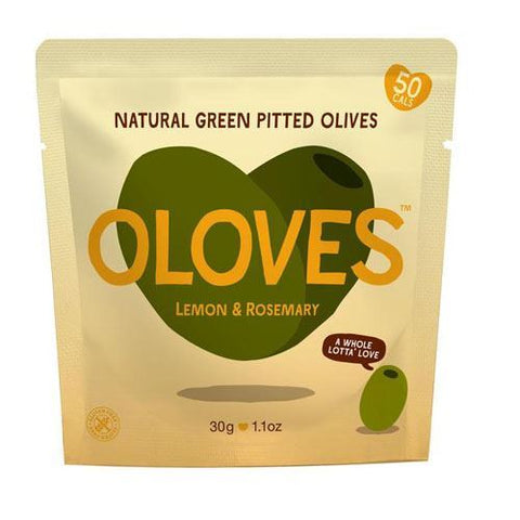 Oloves | Lemon Rosemary Garlic Green Olives Snack | 1 x 30g