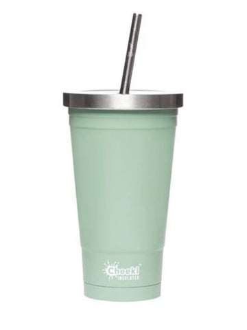 Cheeki | 500ml Insulated Tumbler With Straw - Pistachio | 1 X 500ml. Sold By Superfood Market