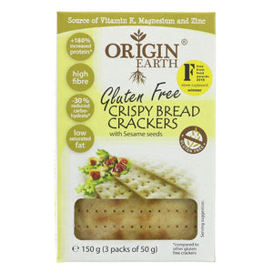 Origin Earth | Gluten Free Crackers Sesame | 1 X 150g. This Product Is :- Gluten Free,vegan