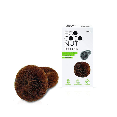 Ecococonut | Twin Pack Scourers | 1 X 2. Sold By Superfood Market