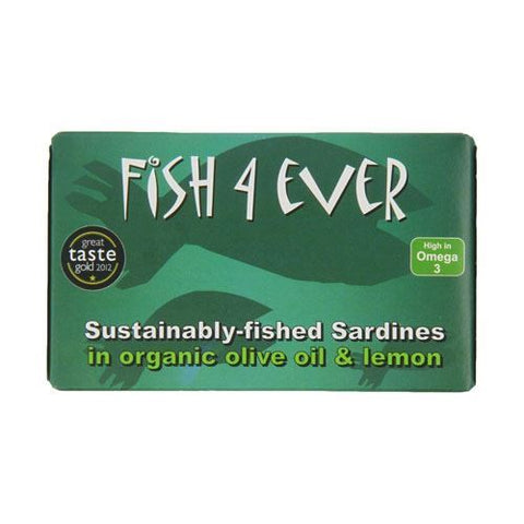 Fish 4 Ever | Whole Sardines In Organic Olive Oil & Lemon | 1 x 120g