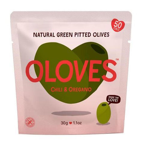 Oloves | Big Juicy Chilli & Oregano Olives Snack | 1 x 30g
