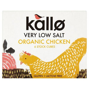 Kallo | Chicken Stock Cubes - Low Salt & Organic | 1 x 48g | Kallo