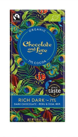 Chocolate And Love Ltd | Chocolate & Love  Rich Dark 71% Chocolate | 1 x 80g