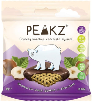 Peakz | Crunchy Hazelnut Chocolate Squares Multipack | 1 X (32g X 3). Sold By Superfood Market