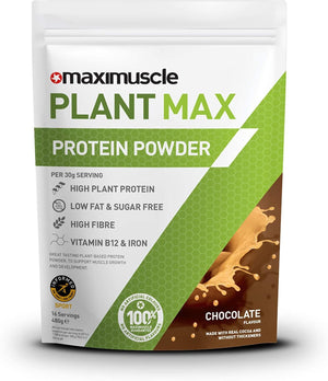 Maximuscle | Plant Max Chocolate Protein Powder | 1 x 480g | Maximuscle