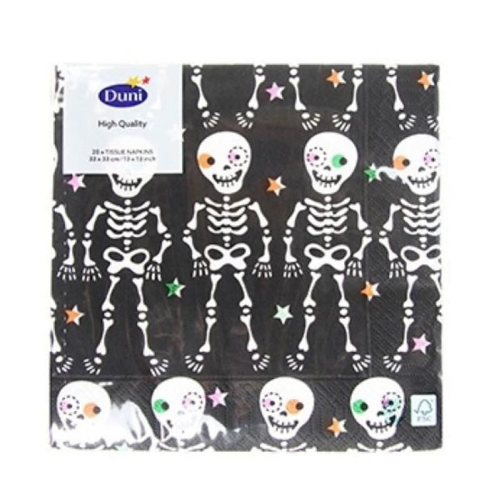 Duni | 33cm 3ply Skeletons Black Napkins | 1 x 20s