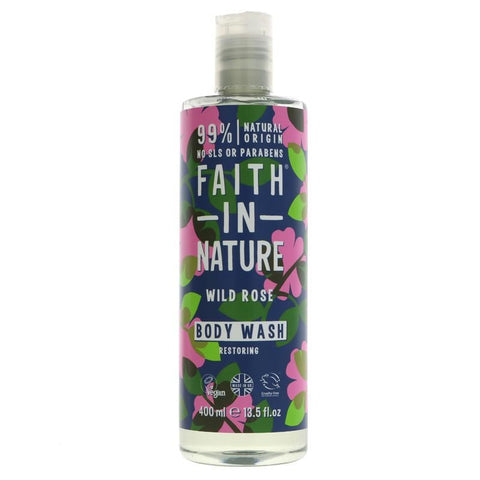 Faith In Nature | Body Wash - Wild Rose | 1 X 400ml. This Product Is :- Vegan