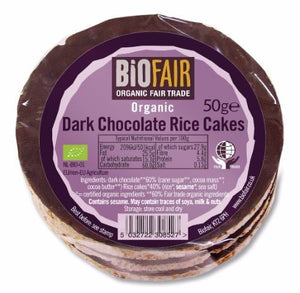 Biofair | Dark Chocolate Rice Cakes - Fairtrade | 1 X 50g. This Product Is :- Gluten Free,vegan,organic,fairtrade