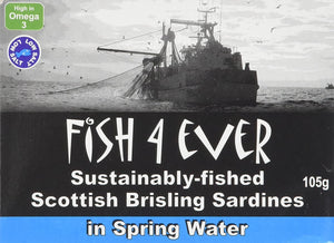 Fish 4 Ever | Scottish Brisling Sardines In Spring Water | 1 x 105g