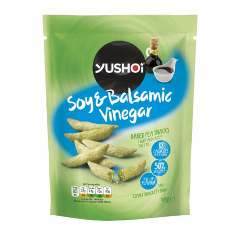 Yushoi | Soy & Balsamic Vinegar Baked Pea Snack | 1 X 105g. This Product Is :- Vegan,dairy Free